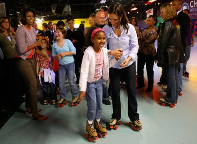 Sasha Obama at skate party