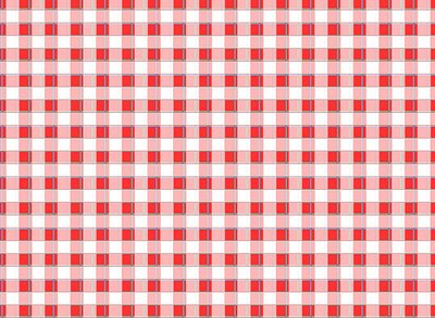 Red and white checkered tablecloth.