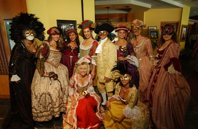 People in costume for Venetian Ball