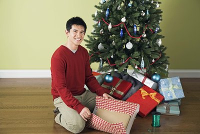 Chinese man with Christmas gifts