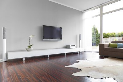 White living room with wood floor