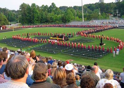 A birds-eye view of a highschool graduation ceremony.