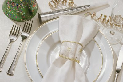 Golden rimmed plates add to the ambiance of the 50th celebration.