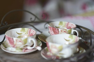 Teacups with floral pattern