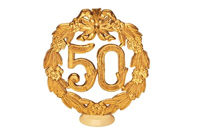 A 50th wedding anniversary is also known as a gold anniversary.