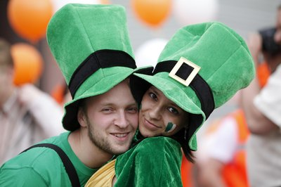 Couple dressed up in St. Patrick's Day gear