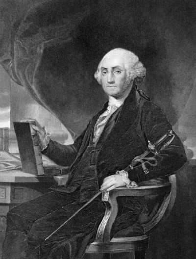 Black and white portrait of George Washington.