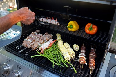 Barbecue with food grilling.