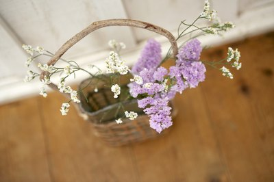Small basket filled with lavender.