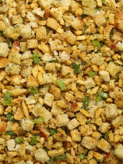 Stuffing is made up of herbs and bread crumbs.