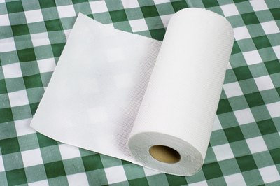 Paper towel on a table cloth.