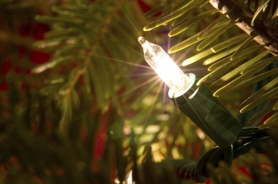 Mini-light bulb on Christmas tree