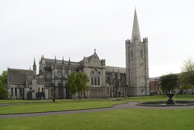The exterior of St. Patrick's Church in Dublin, Ireland.