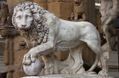 A lion statue at Signoria Square in Florence, carved by Donatello