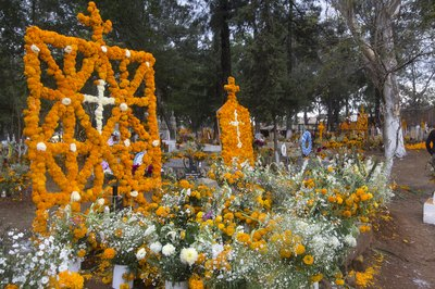 Orange marigolds are a popular flower choice.