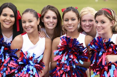Close up of cheerleaders.