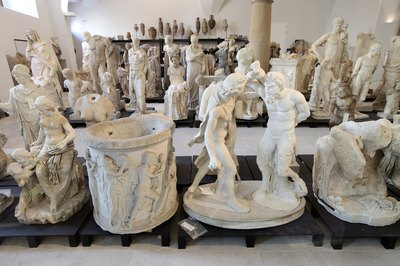 Roman sculptures from the 2nd century A.D. on display in museum