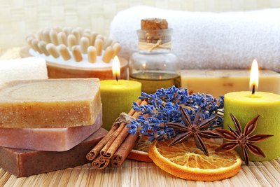 Homemade soaps, candles and various bath and body products.