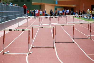 Hurdles on a race track.