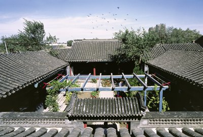 Traditional Chinese houses from aerial view.