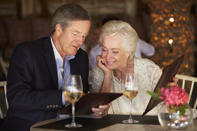 Senior couple at a restaurant