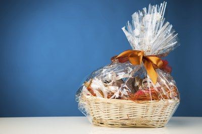 Small gift basket in front of blue wall