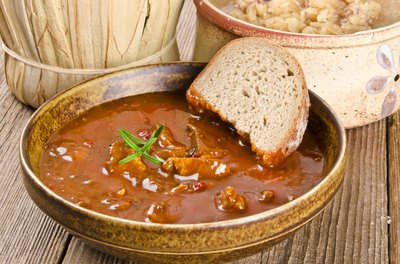 Bread dipped in soup.