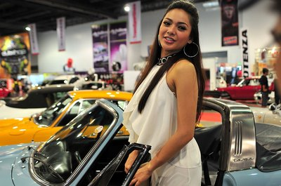Fashion model at a car show in Manila