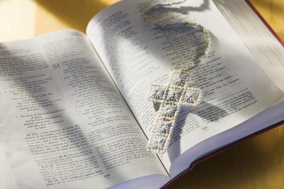 Bible with cross bookmark