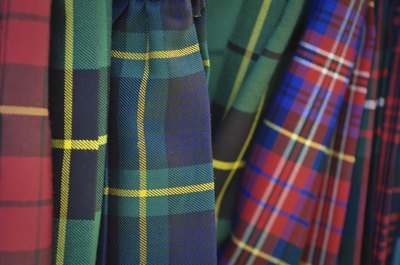 Close up of kilt patterns.