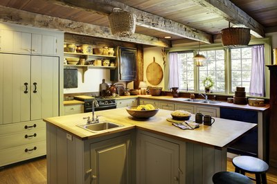 Vintage kitchen with wood floors.