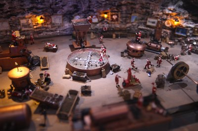 Close-up view of miniture Santa Claus workshop