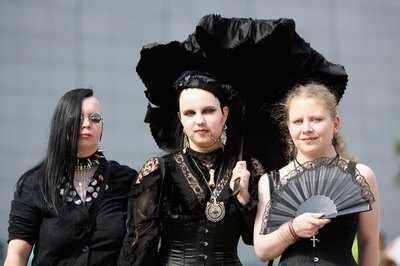 Young peole attend a Goth festival