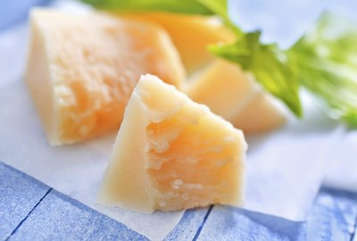 Hard pieces of Parmesan cheese