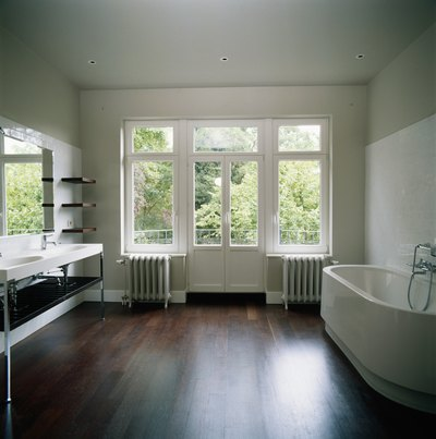 Contemporary bathroom with ceramic flooring