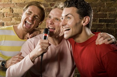 Group of men singing a funny song