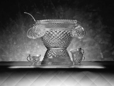 Crystal punch bowl and glasses.