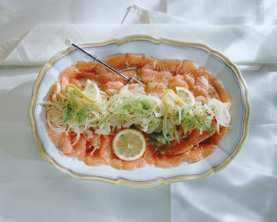 Salmon presented on tray