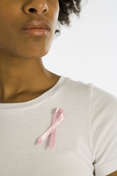 Woman wearing Breast Cancer awareness ribbon