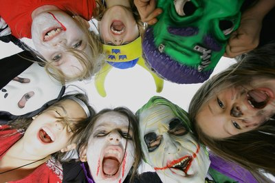 Children get ready for Halloween party