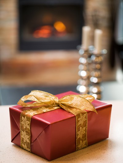 A wrapped gift box on a table.