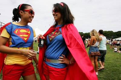 Costumed Supergirls at festival