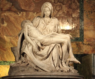 Touted as one of the greatest works of the Renaissance, Michelangelo carved the Pieta from marble.