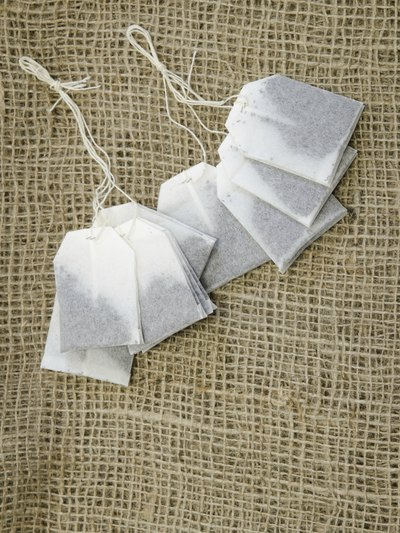 tea bags on hemp fabric