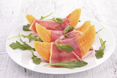 Proscuitto and melon cold tapas.