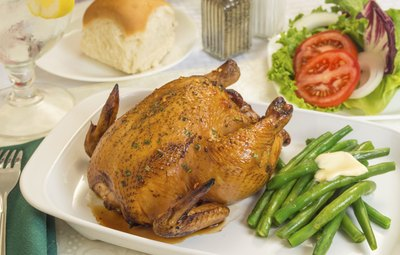 Every guest gets a bird when Cornish game hen's on the menu.