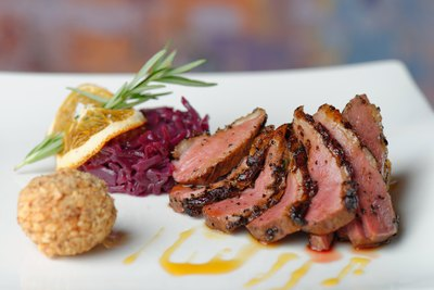 Duck breast and red cabbage.