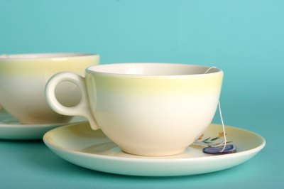 Yellow pastel teacup