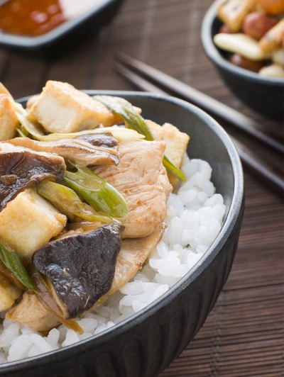 Chicken and mushroom donburi
