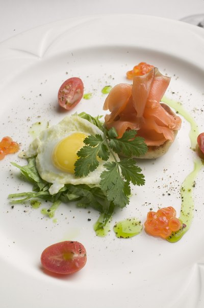 salmon and egg on plate